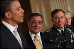 _R2. 00.06.07 appointed Leon Panetta, center, director of the Central Intelligence Agency, as secretary of defense, and Gen. David Petraeus as head of the C.I.A, caucus-obama-panetta-petraeus-blog480