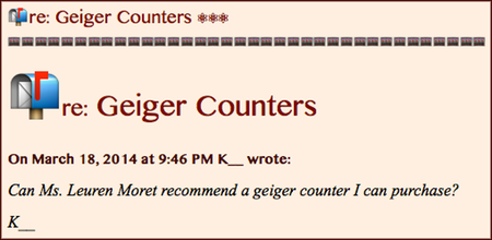 📬 re: Geiger Counters ⚛⚛⚛ | ⚛ ⚛ ⚛ Leuren Moret
