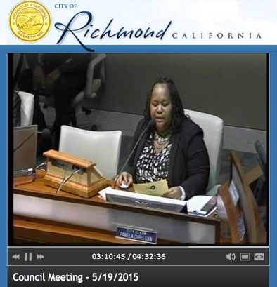 20150519 Richmond, CA City Council Meeting – Resolution I-1 Passed Banning Space-Based Weapons