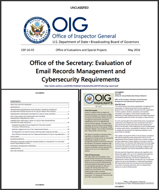 20160501 Office of the Inspector General, State Dept- Evaluation of  Emai l Records Management and  Cybersecurity Requirements (w link)