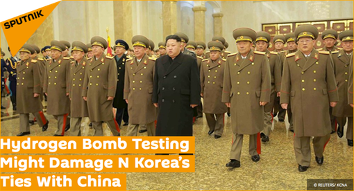 "_Pic 2.1 20160106 Hydrogen Bomb Testing Might Damage N Korea's Ties With China [Sputnik/Reuters] Yeonhee (연희) Nuclear Kabuki Theater, ""We're Marching . . !"""