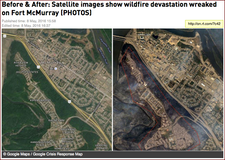 Before & After- Satellite images show wildfire devastation wreaked on Fort McMurray (PHOTOS) | http-/on.rt.com/7c42