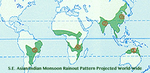 Fig.12(c) S.E. Asian/Indian Monsoon Rainout Pattern Projected World-Wide