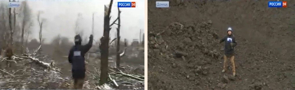 Image #21. (top set) 20150209 Pic 1. (l) TREES, CRATER- (r) [In crater looking down from cam location, NUKE EXPLOSION IN UKRAINE? - A Huge Explosion Rocks Eastern Ukraine