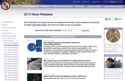 Naval Research Laboratory, News Releases Cover