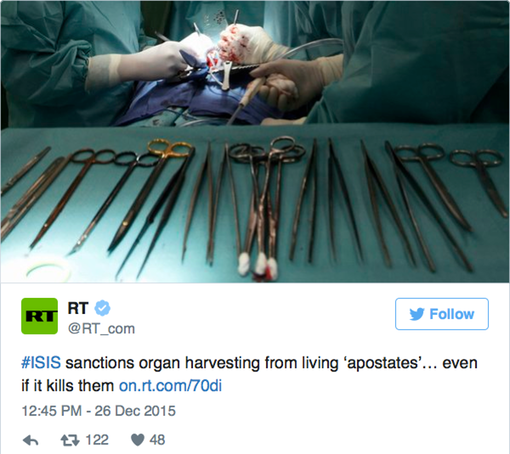 Pic 2. #ISIS sanctions organ harvesting from living 'apostates'… even if it kills them http-/on.rt.com/70di