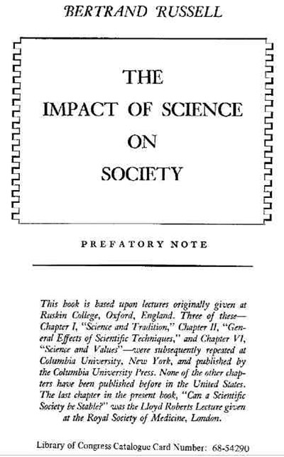 The Impact of Science on Society - Bertrand Russell 4